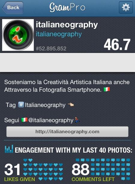 foto cellulare statistiche instagram grampro