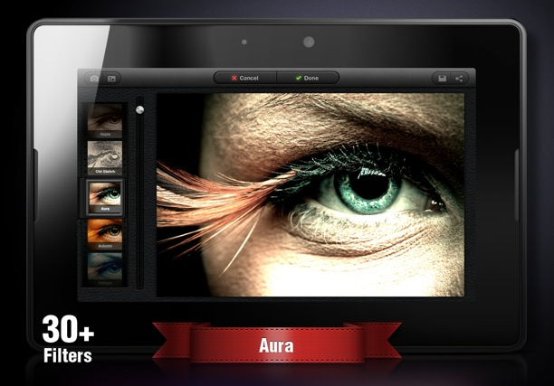 uber iris per elaborare foto con blackberry playbook