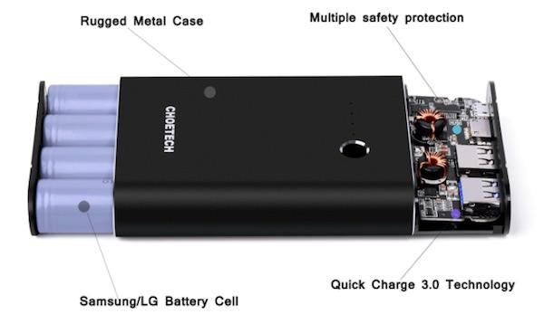 interno batteria choetech 10400mah