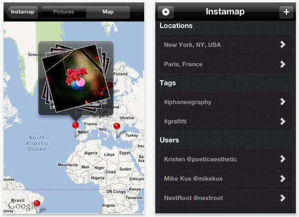 navigare foto città con instamap per iphone ed ipad