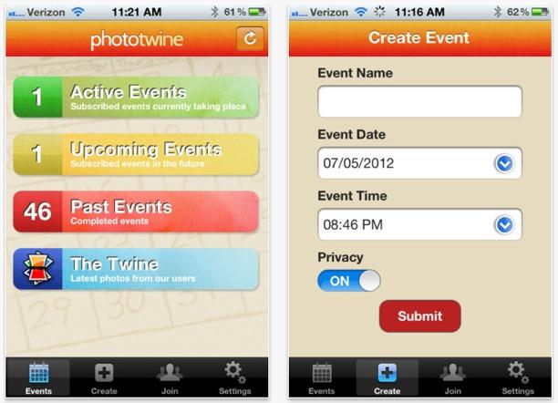 condividi foto di eventi per iphone con phototwine