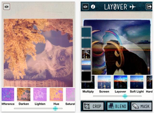 sovrapporre immagini con l'app layover per iphone ed ipad