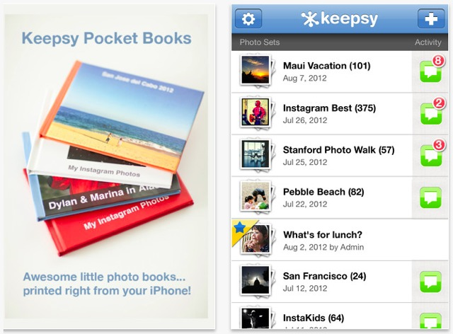 foto album keepsy per iphone