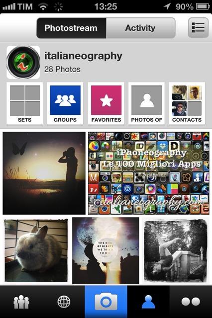 Registrazione di un profilo Flickr