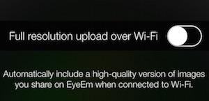 EyeEm Wifi massima risoluzione foto
