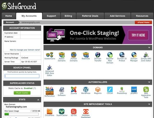 cpanel di siteground per wordpress