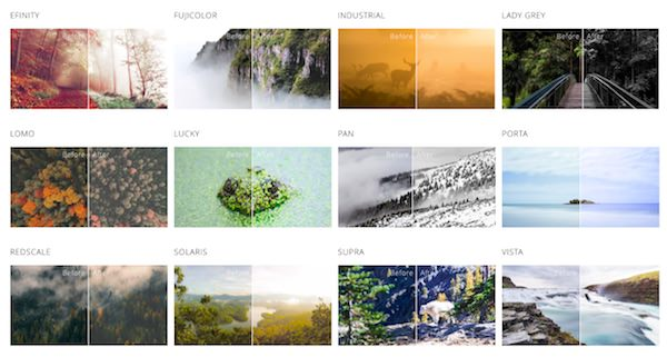 vari filtri fotografici polarr