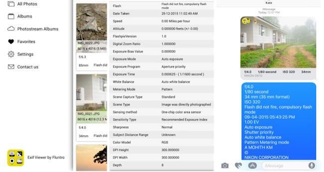 vedere exif dati su iphone ipad