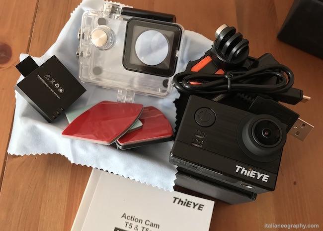confezione action cam thieye t5