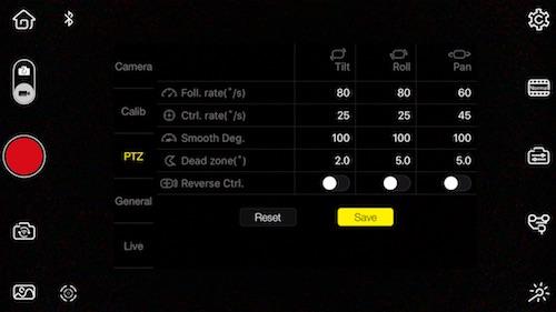 come personalizzare parametri zhiyun smooth 3