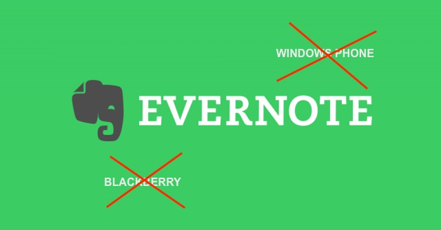evernote elimina windows phone e blackberry