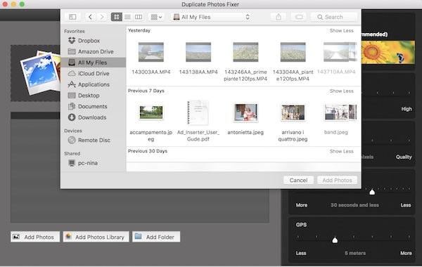 importare foto su duplicate photos fixer pro