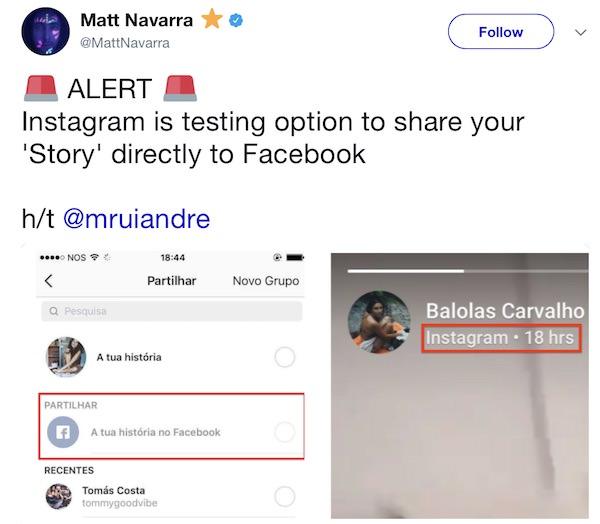 instagram stories pubblicate su facebook