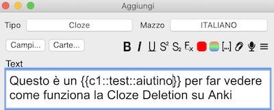 Cloze Deletion Stringa C1 con Parola Aiuto