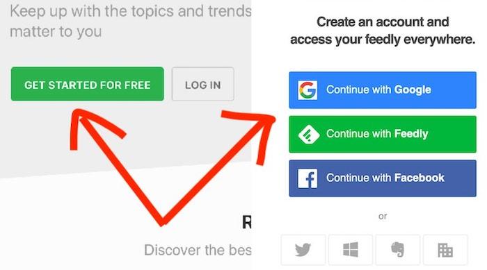creare profilo feedly